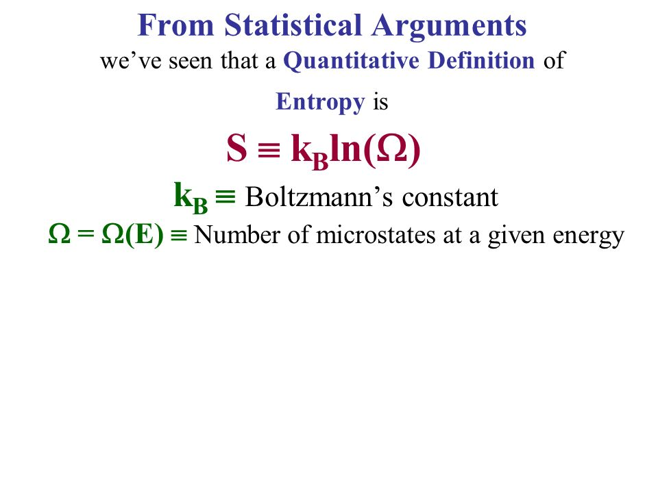 From Statistical Arguments we've seen that a Quantitative Definition of Entropy is