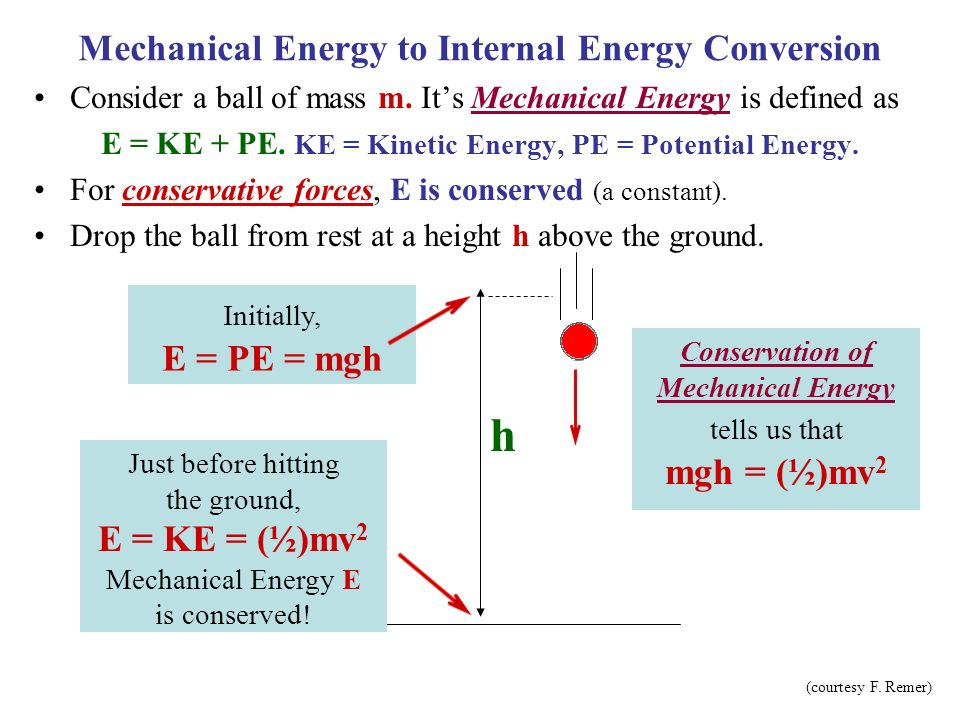 Mechanical Energy to Internal Energy Conversion