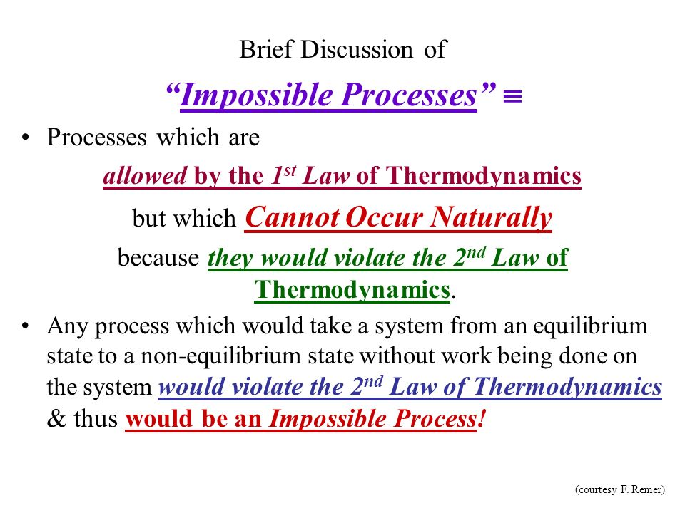 Impossible Processes  allowed by the 1st Law of Thermodynamics