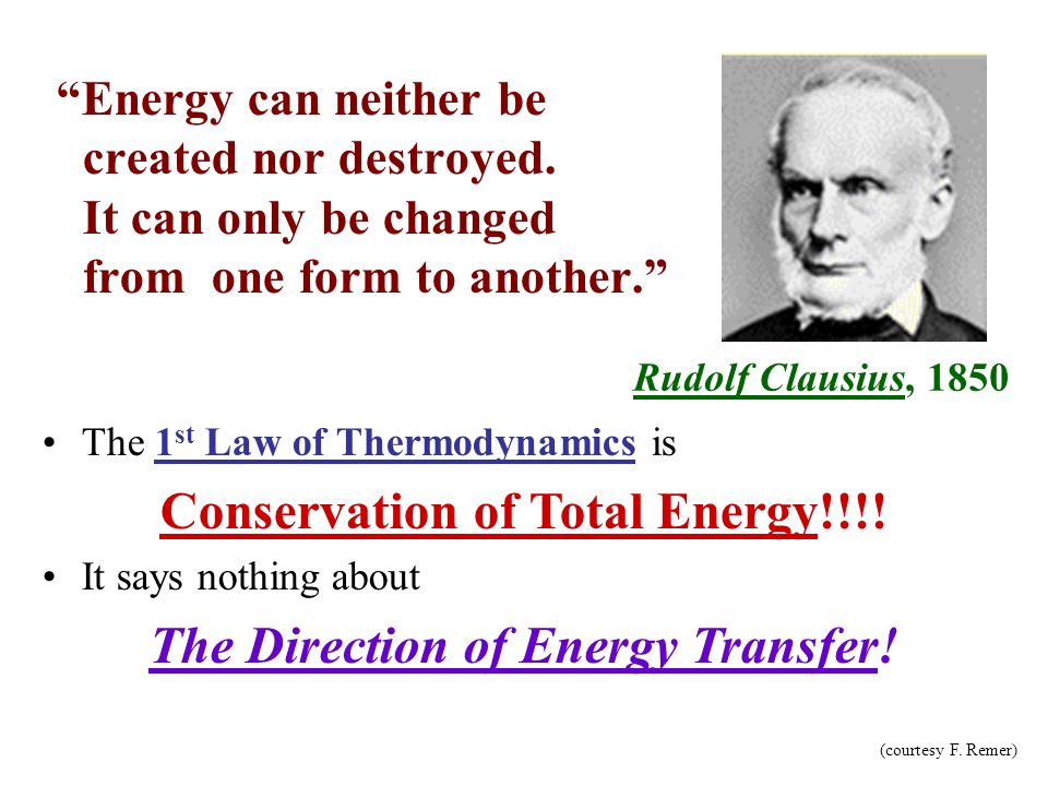 Conservation of Total Energy!!!! The Direction of Energy Transfer!