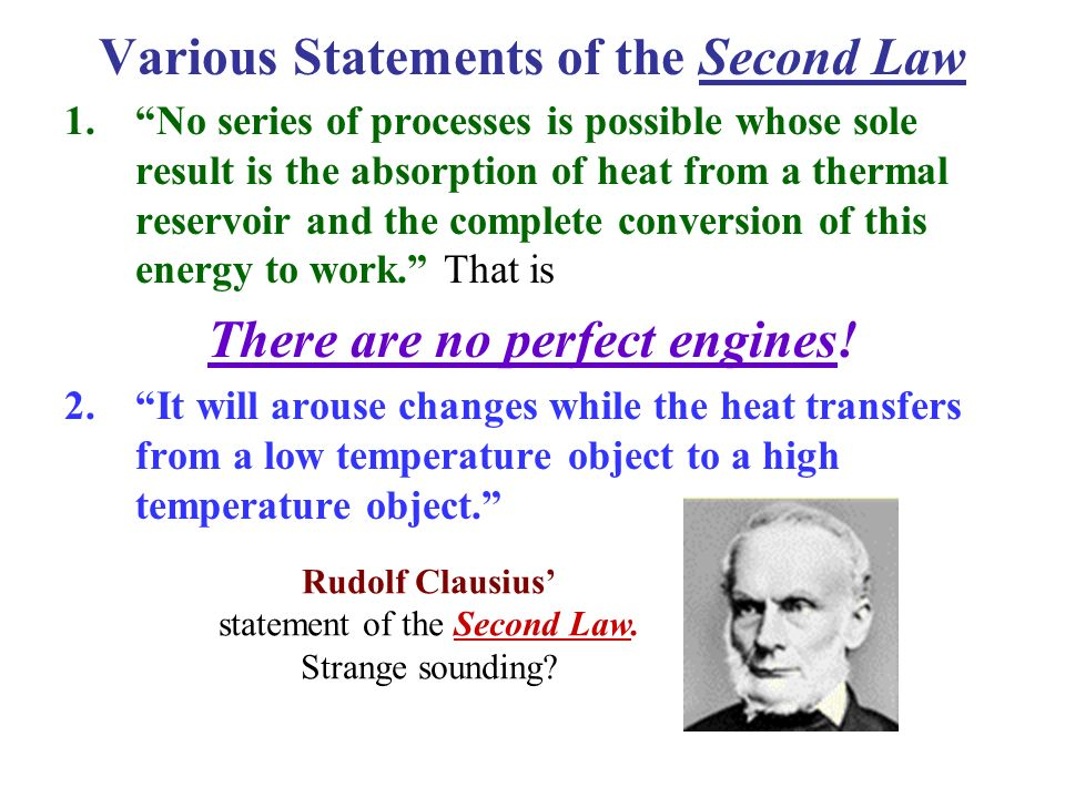 Various Statements of the Second Law