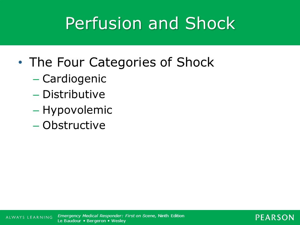 Perfusion and Shock The Four Categories of Shock Cardiogenic