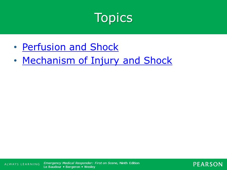 Topics Perfusion and Shock Mechanism of Injury and Shock