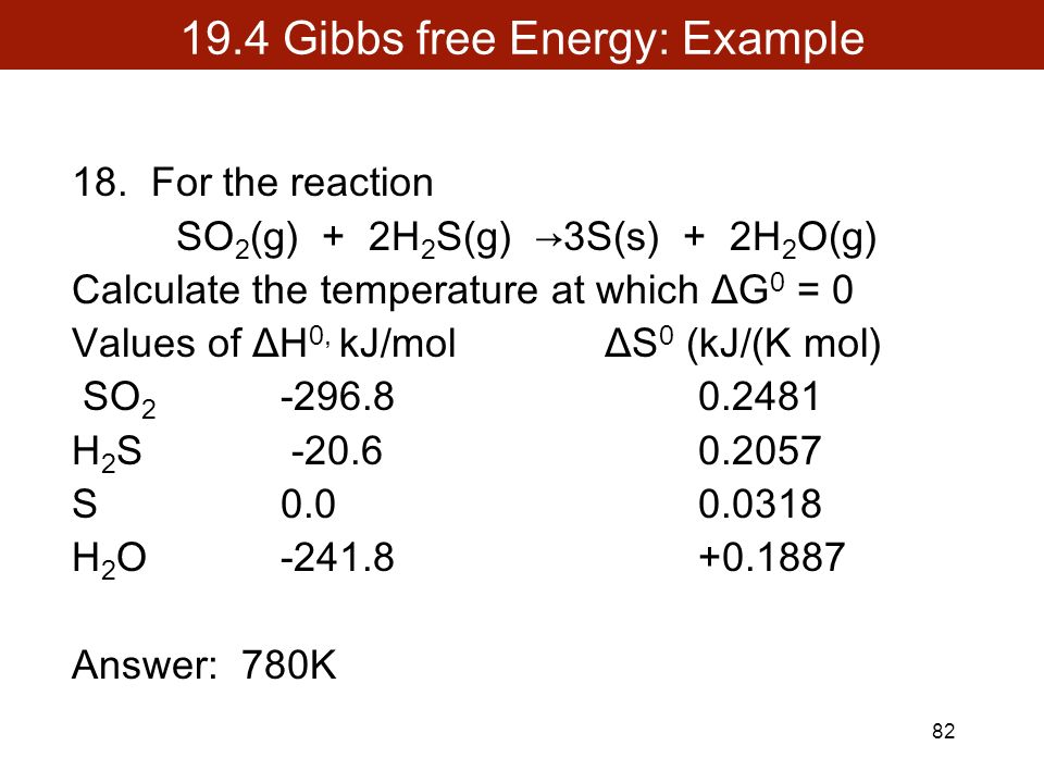 Calculating Gibbs Free Energy Reliant Energy