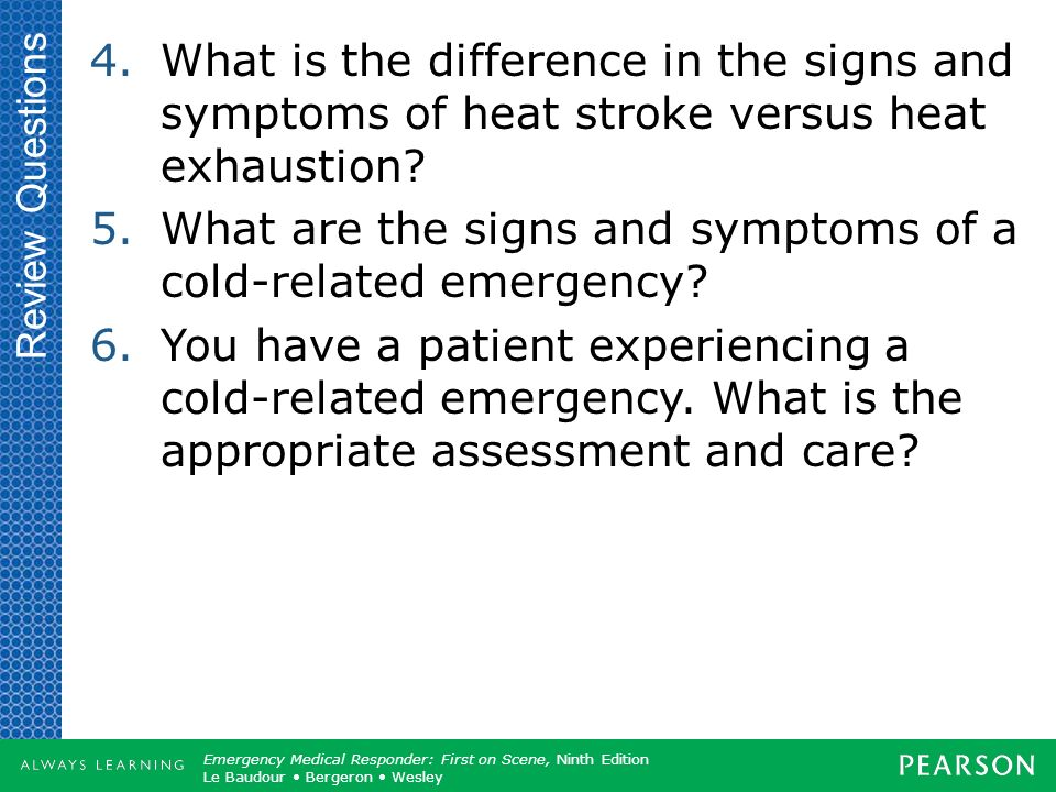 What are the signs and symptoms of a cold-related emergency