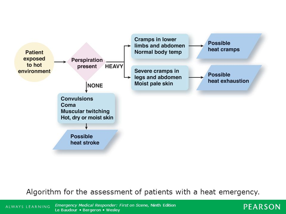 Algorithm for the assessment of patients with a heat emergency.