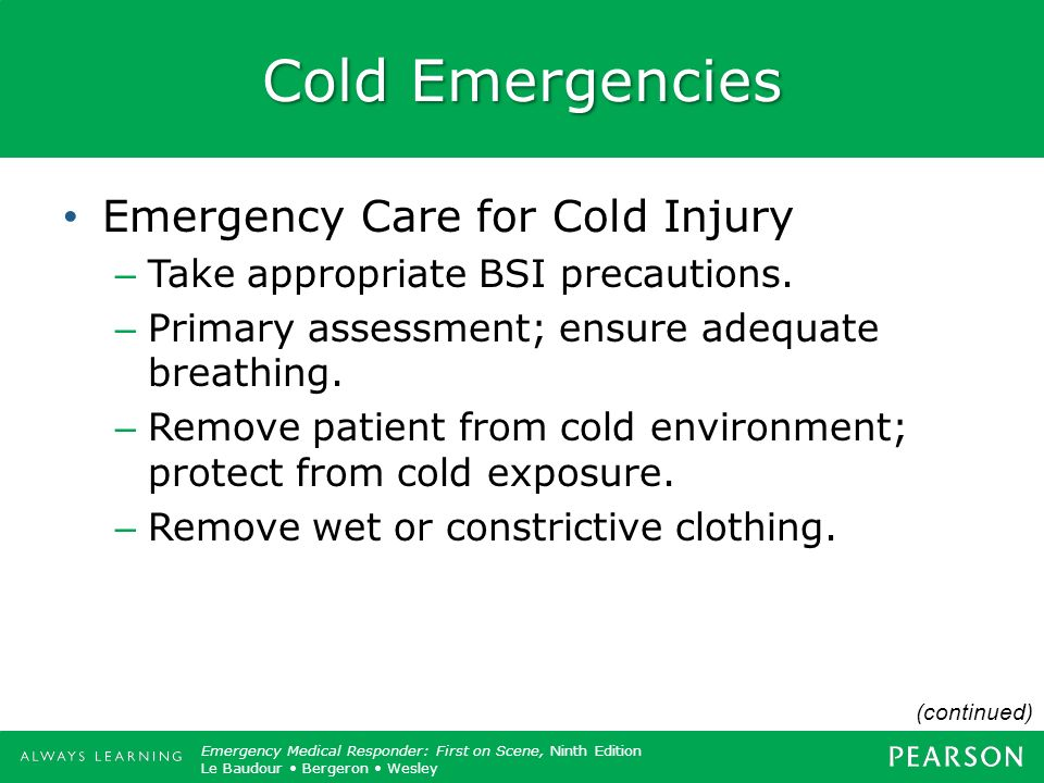 Cold Emergencies Emergency Care for Cold Injury