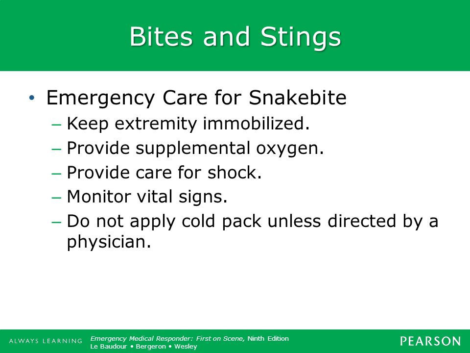 Bites and Stings Emergency Care for Snakebite