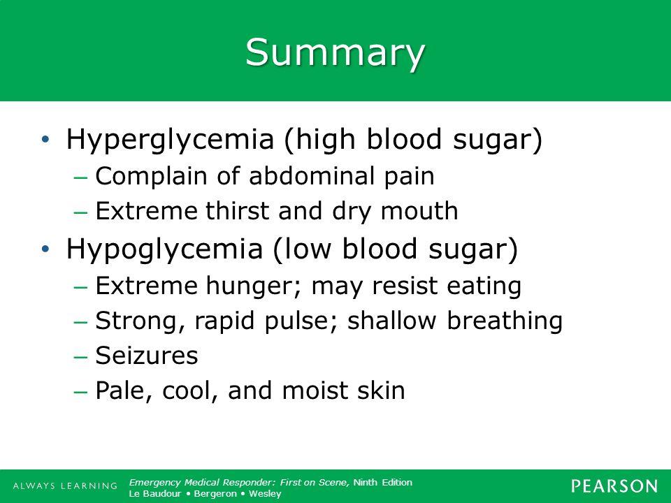 Summary Hyperglycemia (high blood sugar)