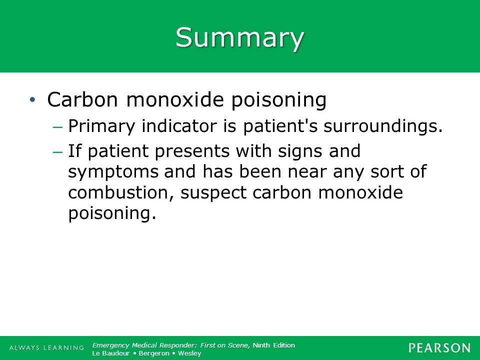Summary Carbon monoxide poisoning