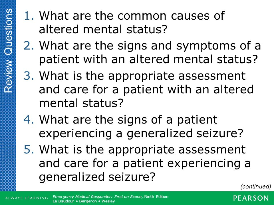 What are the common causes of altered mental status