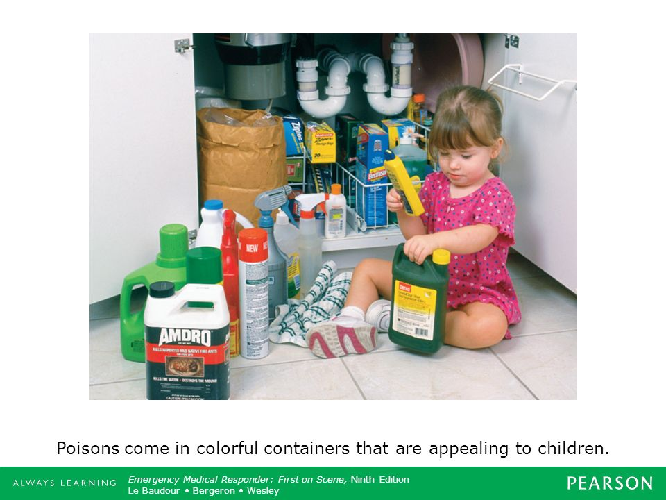 Poisons come in colorful containers that are appealing to children.