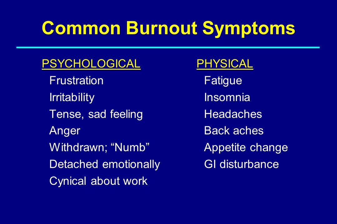 Common Burnout Symptoms
