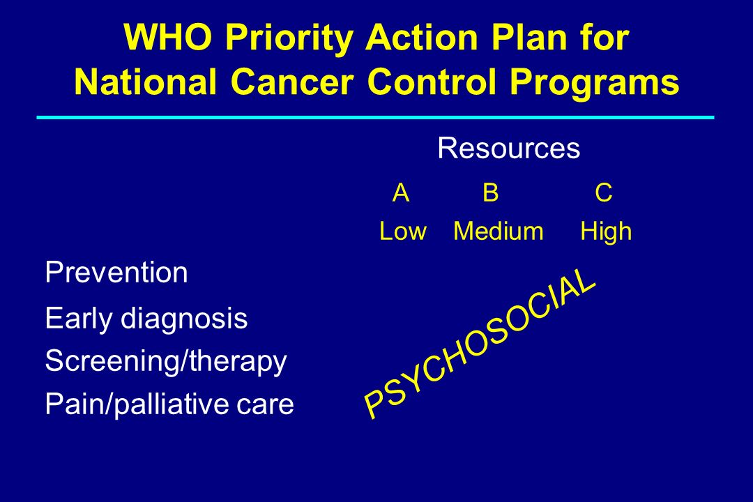 WHO Priority Action Plan for National Cancer Control Programs