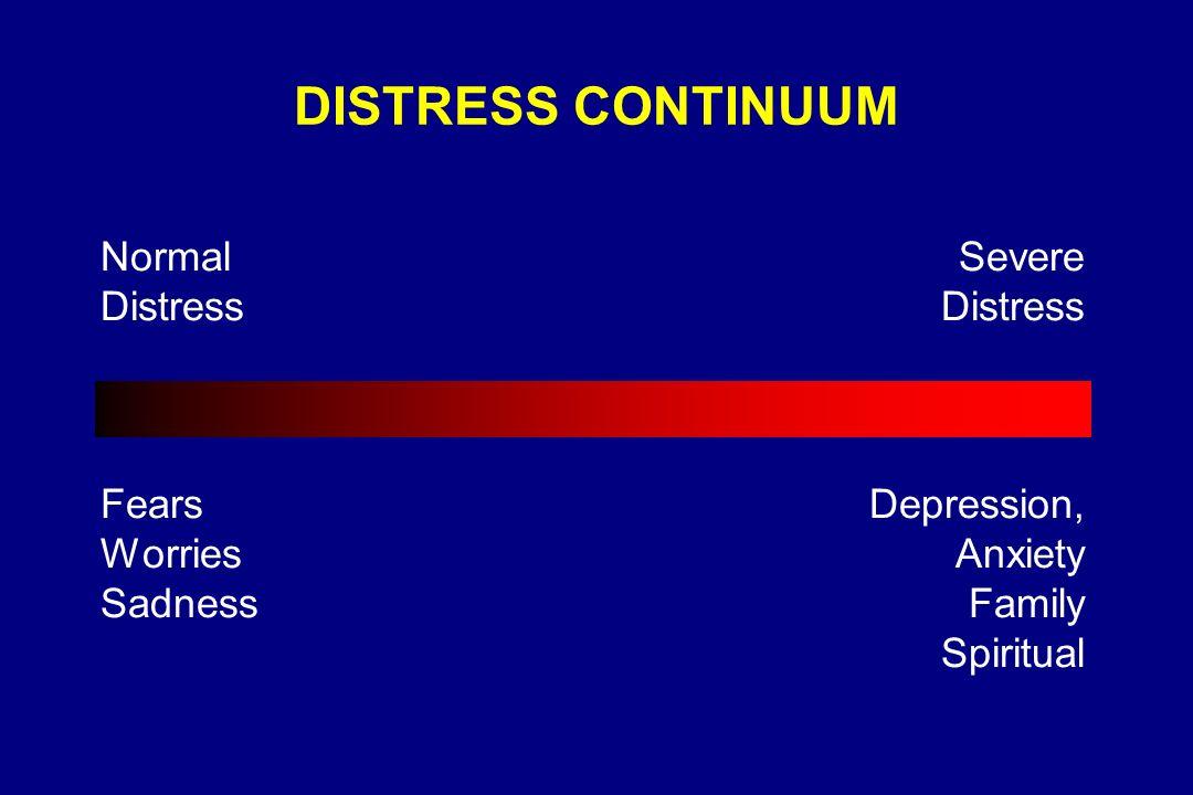 DISTRESS CONTINUUM Normal Distress Fears Worries Sadness