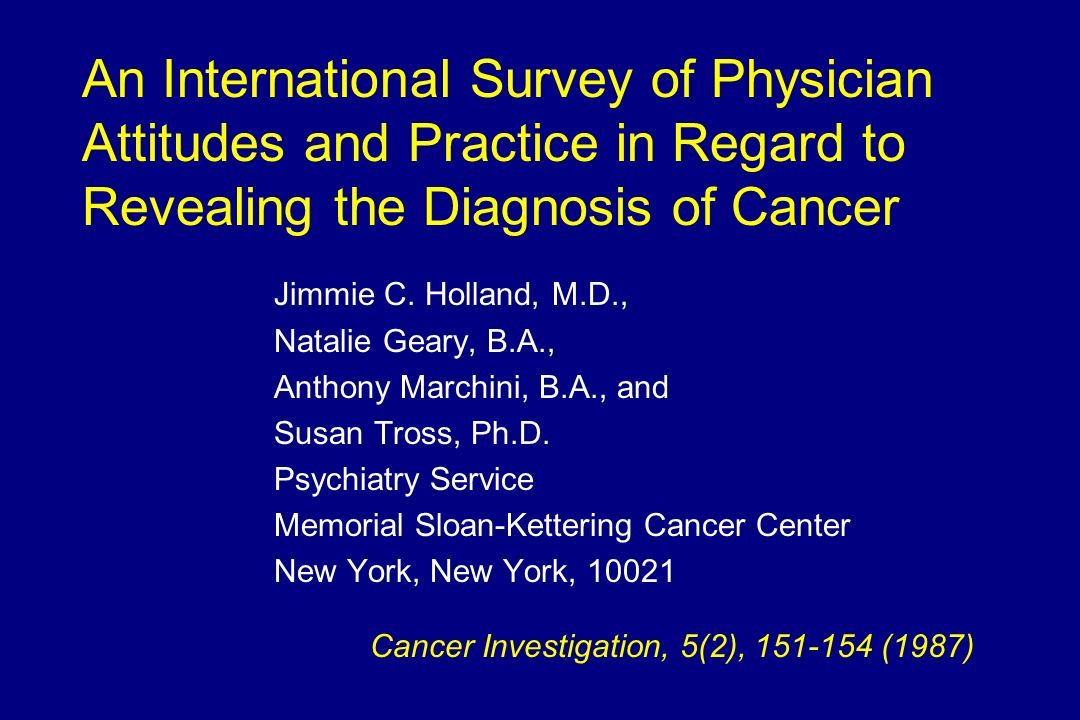An International Survey of Physician Attitudes and Practice in Regard to Revealing the Diagnosis of Cancer