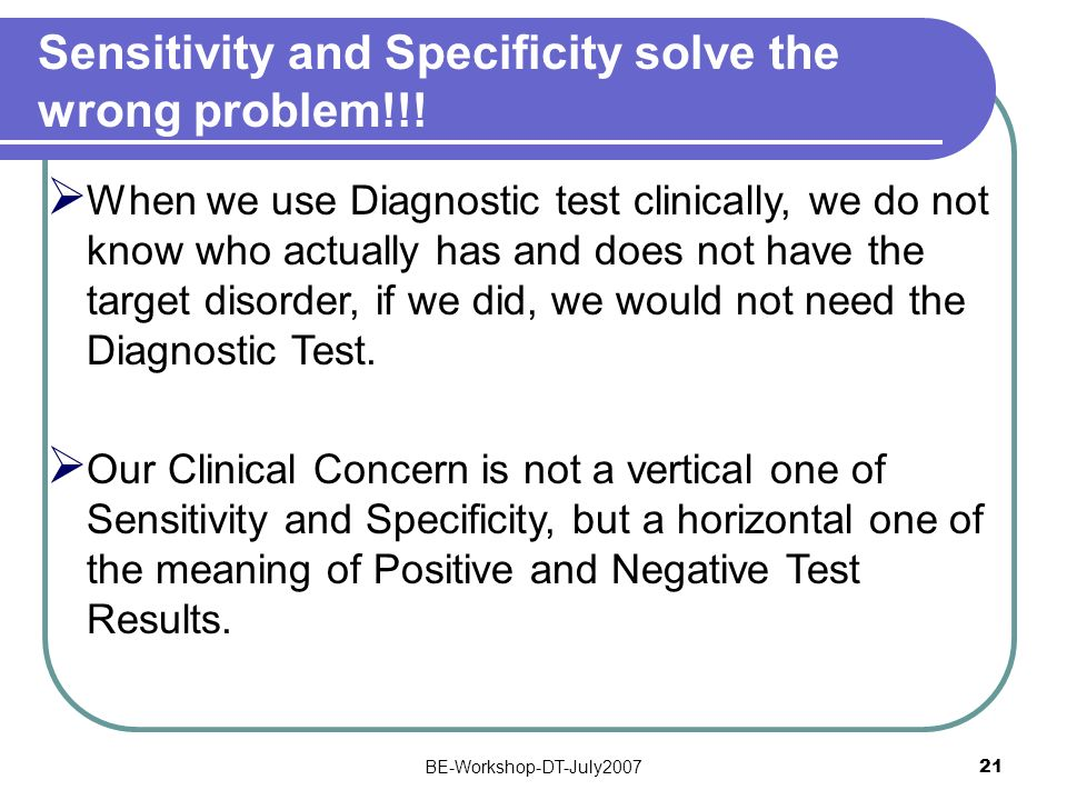 Sensitivity and Specificity solve the wrong problem!!!