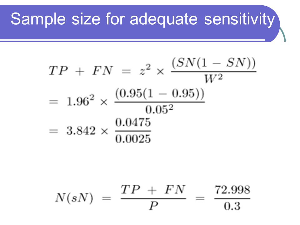 Sample size for adequate sensitivity
