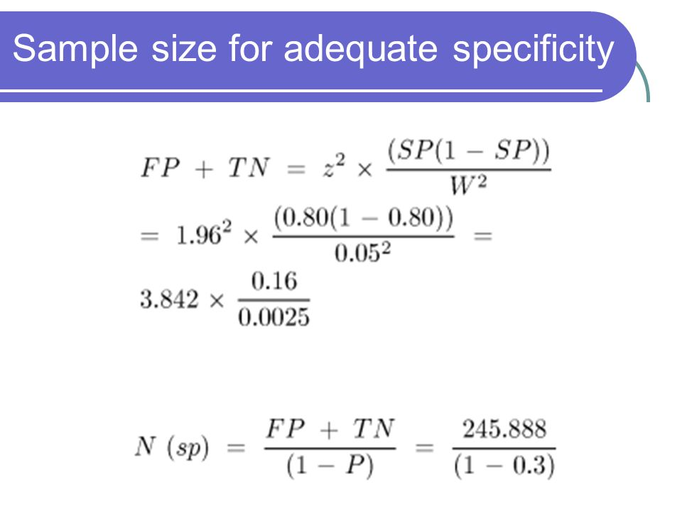 Sample size for adequate specificity