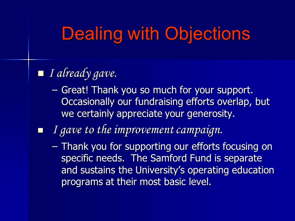 Dealing with Objections