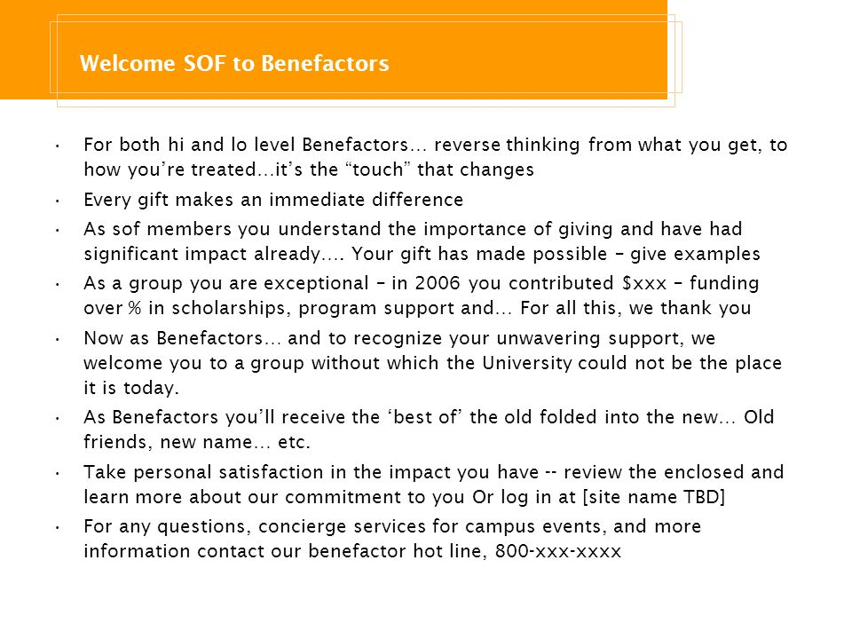 Welcome SOF to Benefactors