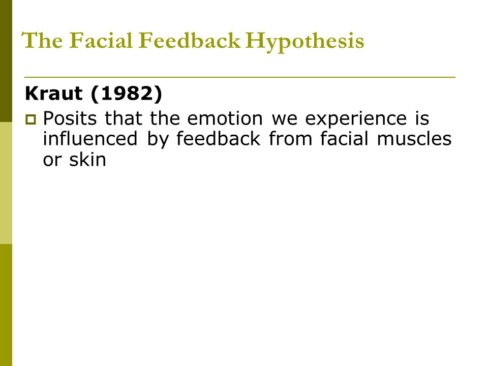 Them Facial feedback hypotheis love