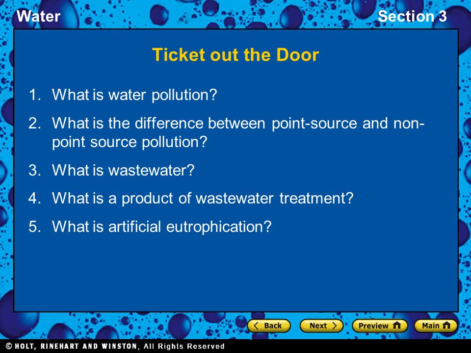 Ticket out the Door What is water pollution