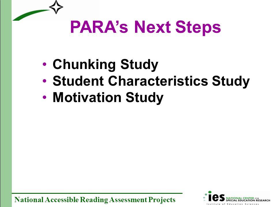 PARA's Next Steps Chunking Study Student Characteristics Study