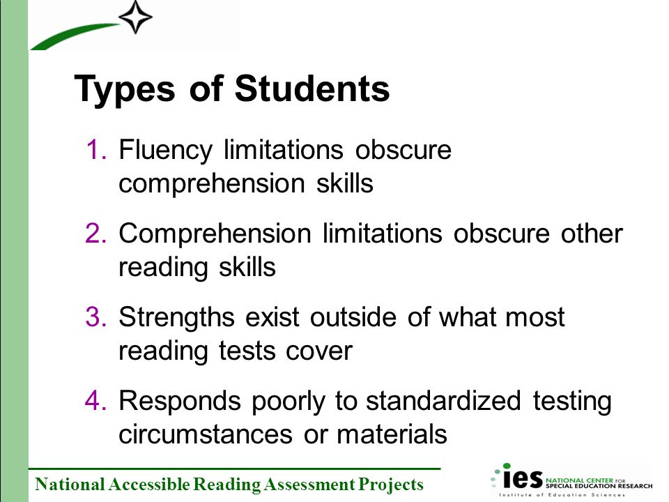 Types of Students Fluency limitations obscure comprehension skills