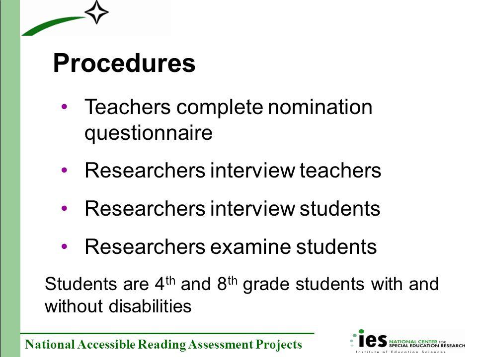 Procedures Teachers complete nomination questionnaire