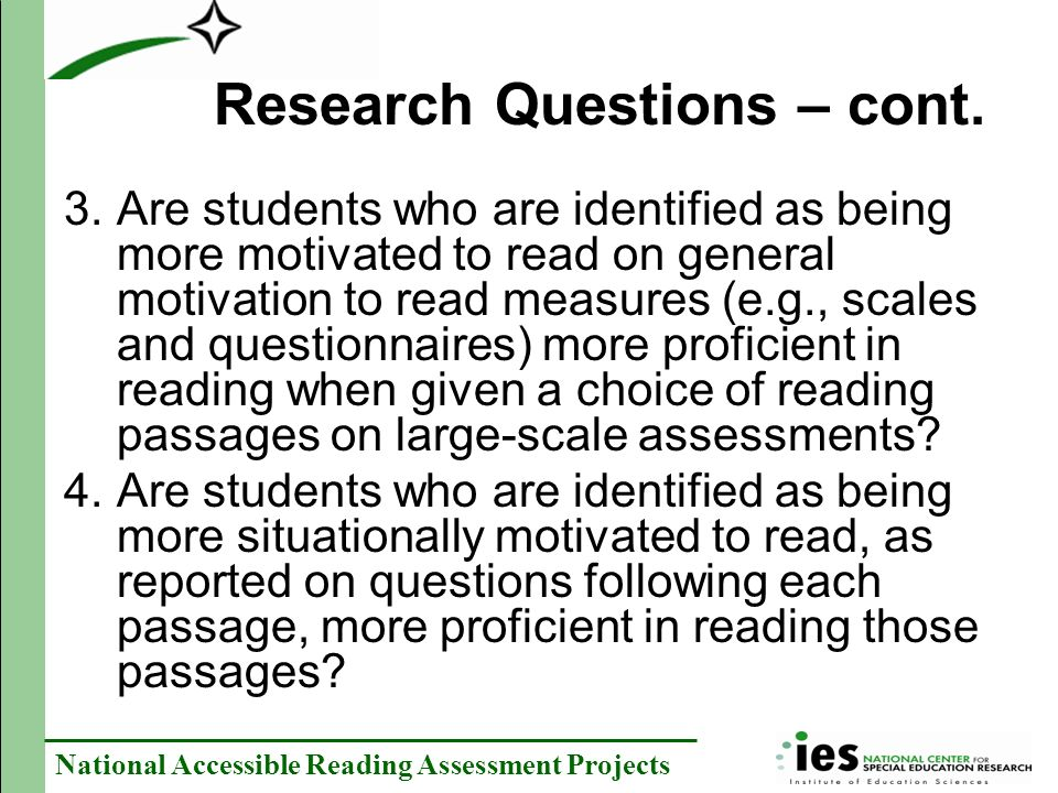 Research Questions – cont.
