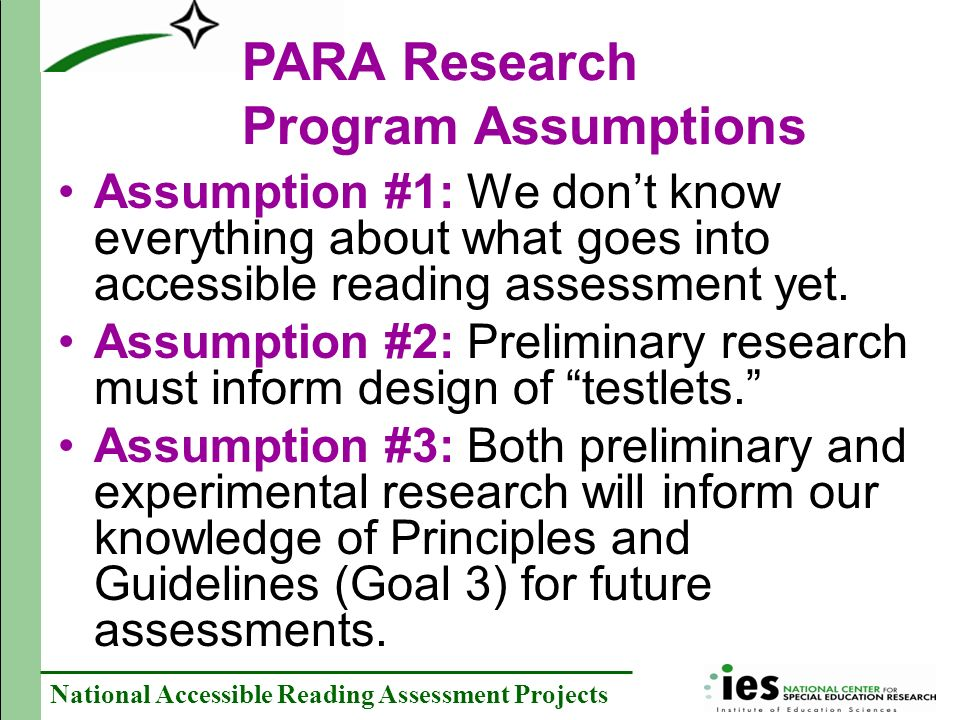 PARA Research Program Assumptions