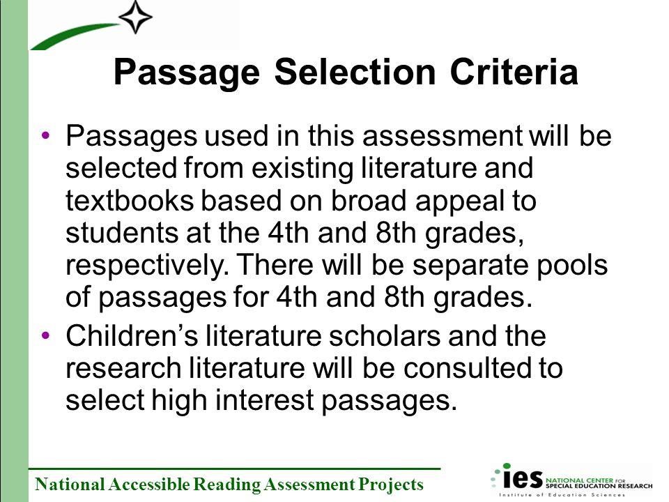 Passage Selection Criteria