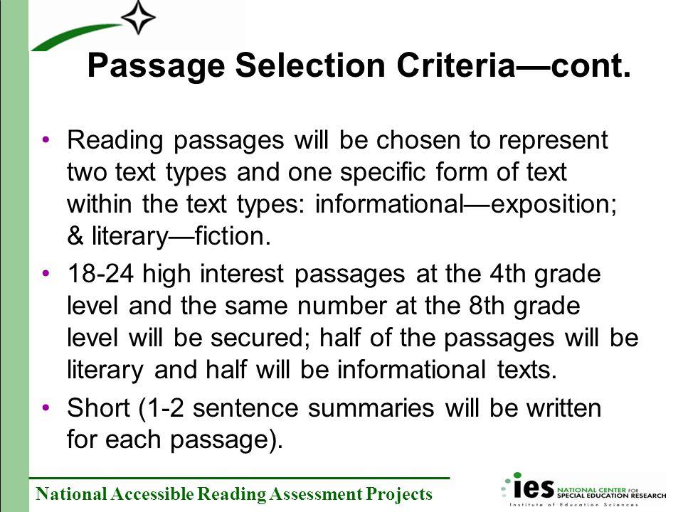 Passage Selection Criteria—cont.