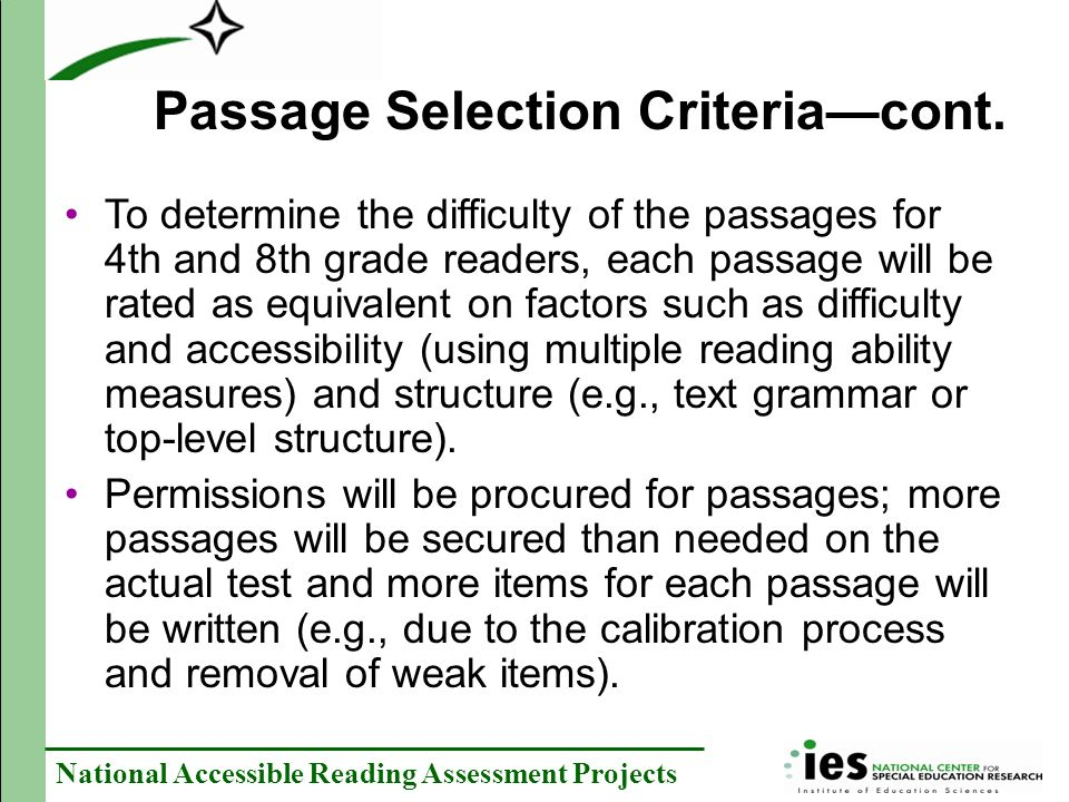 Passage Selection Criteria—cont.