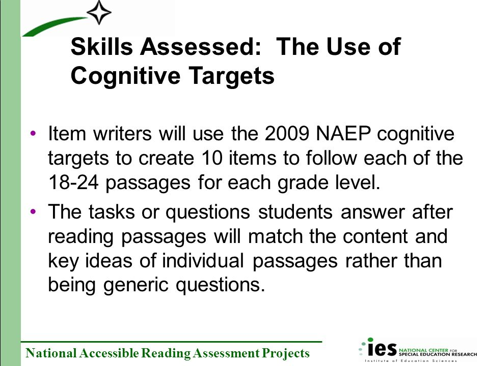 Skills Assessed: The Use of Cognitive Targets