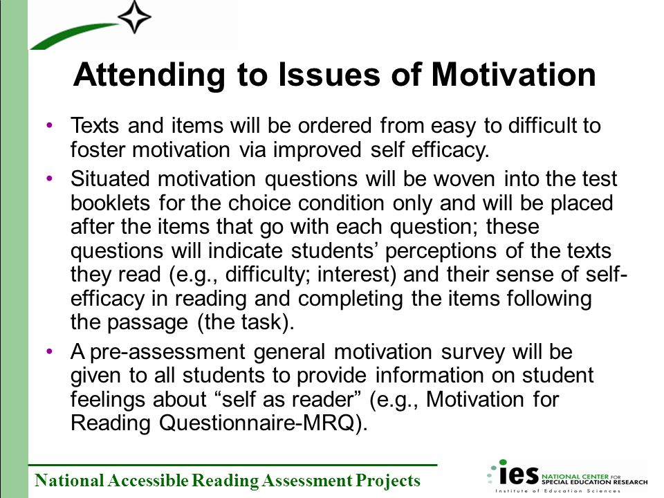 Attending to Issues of Motivation