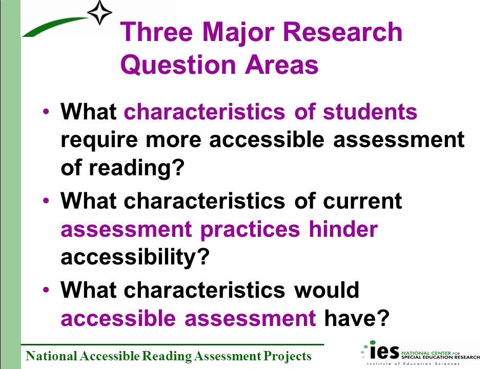 Three Major Research Question Areas