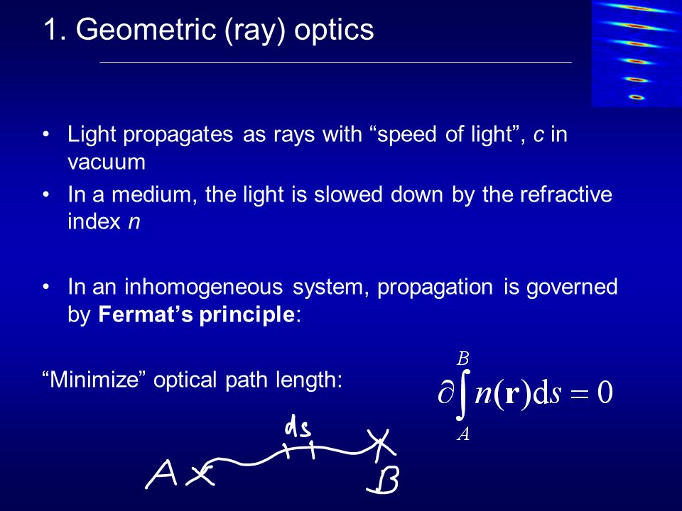 1. Geometric (ray) optics