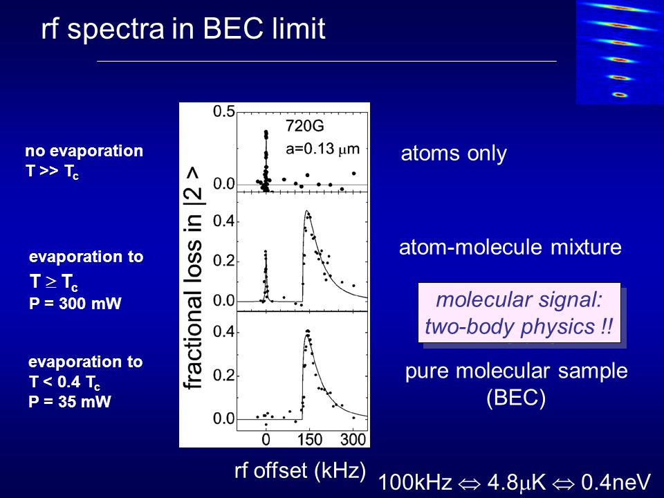 rf spectra in BEC limit atoms only atom-molecule mixture