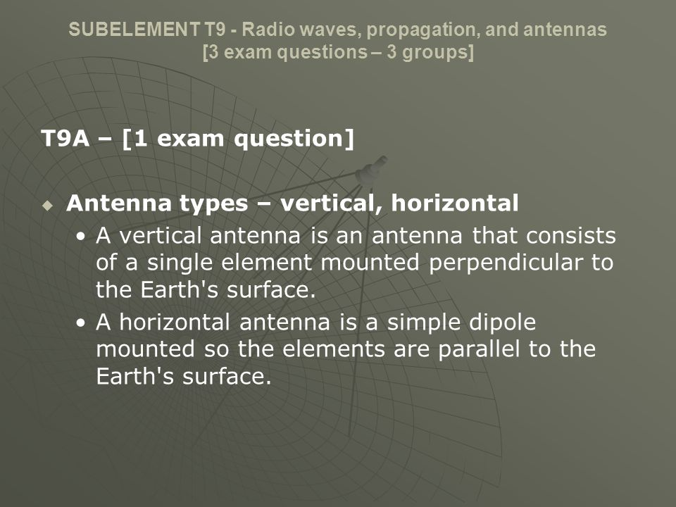 Antenna types – vertical, horizontal