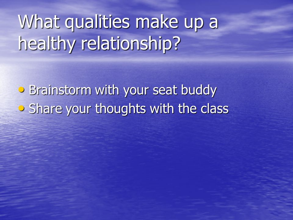 qualities of a healthy relationship list
