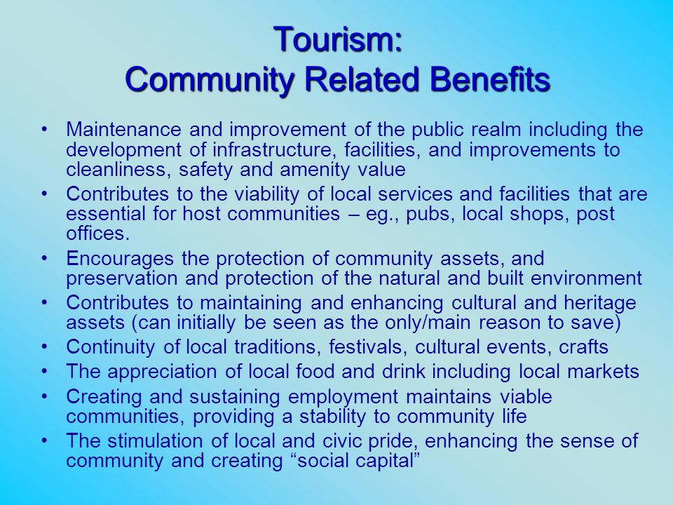 Tourism: Community Related Benefits