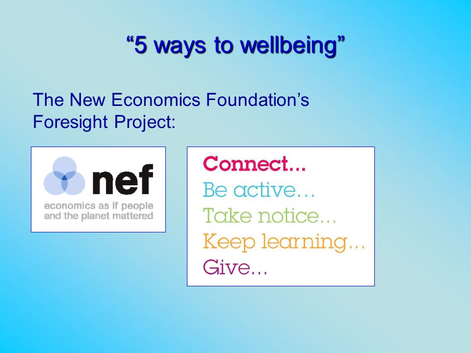 5 ways to wellbeing The New Economics Foundation's