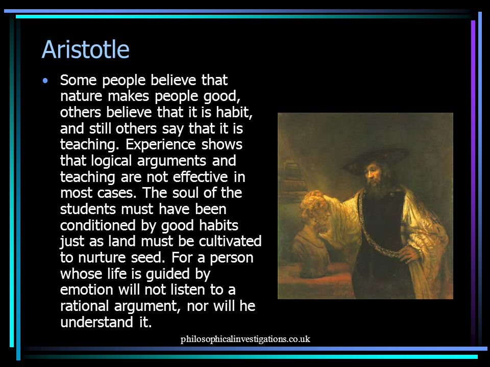 The argument of aristotle on happiness