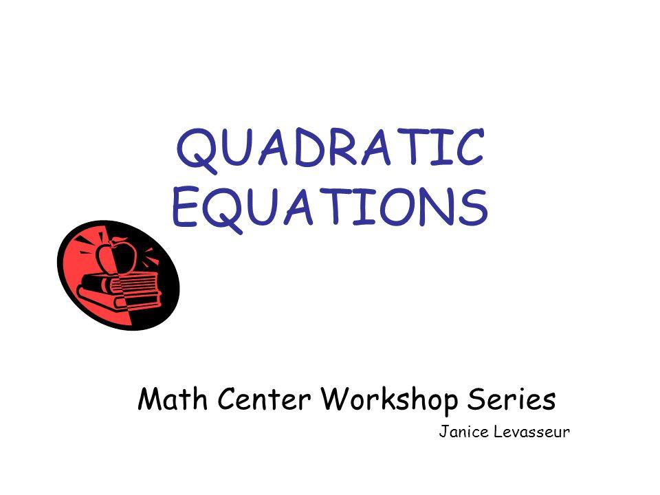 Math Center Workshop Series