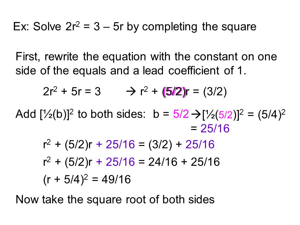 Ex: Solve 2r2 = 3 – 5r by completing the square