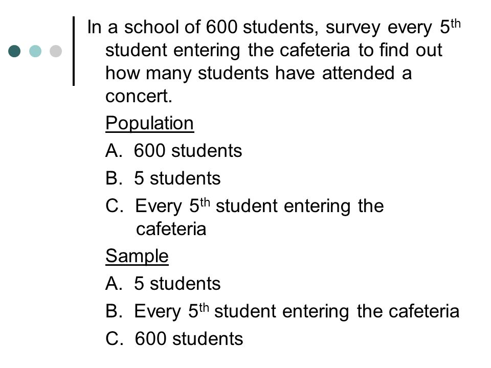 In a school of 600 students, survey every 5th student entering the cafeteria to find out how many students have attended a concert.