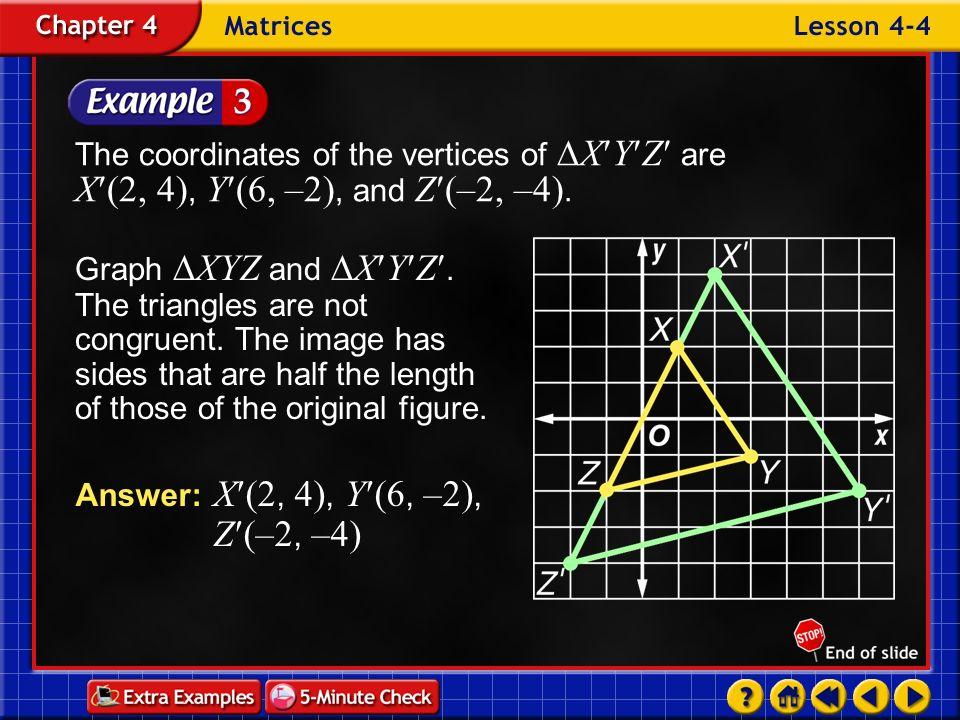 Answer: X(2, 4), Y(6, –2), Z(–2, –4)