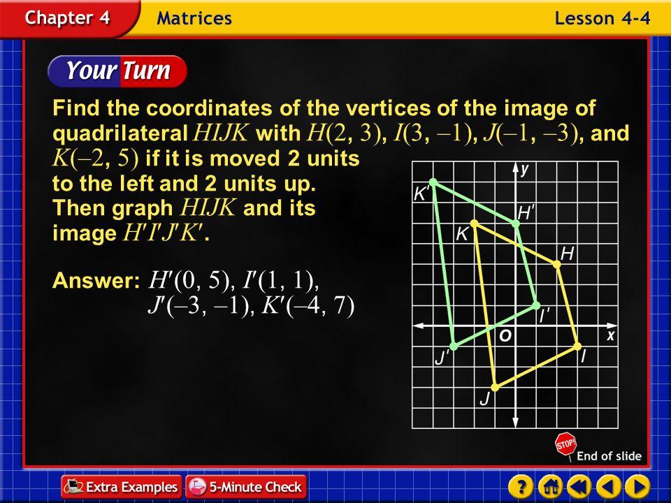 Answer: H(0, 5), I(1, 1), J(–3, –1), K(–4, 7)